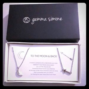 To The Moon & Back Best Friends Necklace Set